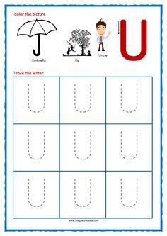 Tracing Letters - Letter Tracing Worksheets - Capital U - Free Preschool Printables Printable Handwriting Worksheets, Alphabet Tracing Worksheets, Tracing Letters, Phonics Worksheets, Free Printable Worksheets, Free Printables, Alphabet Writing Practice, Learning Letters, Free Preschool