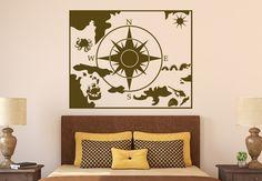 Nautical Map Wall Sticker.  http://walliv.com/nautical-map-2-wall-sticker-wall-art-decal
