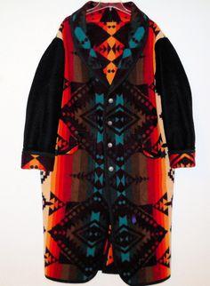 Pendleton Handcrafted Blanket Coat - Deep Maroon & Sunburst Large Unisex