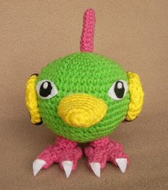 Natu is a cute pokemon, he has these big eyes like a night-hawk that were very hard to get right lol. I tried to make the wings all croch. Crochet Crafts, Diy Crochet, Yarn Crafts, Crochet Toys, Crochet Projects, Knitting Projects, Crochet Ideas, Pokemon Crochet Pattern, Pikachu Crochet
