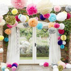 Tissue Paper Pompoms Pom Poms Hanging Garland Wedding Party Decor 40Cm