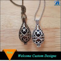Fashion jewelry 2015 antique teardrop essential oil pendant aromatherapy necklace wholesale