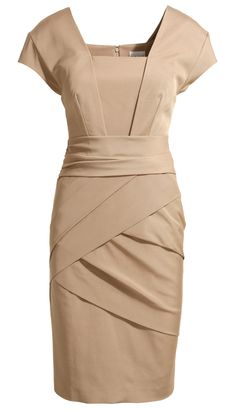 Nude Short Sleeve Back Zipper Bodycon Dress