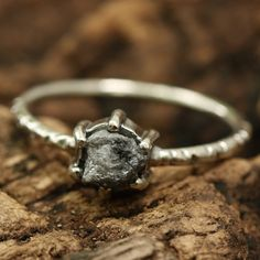 Prongs rough diamond ring with sterling silver oxidized texture band Check more at