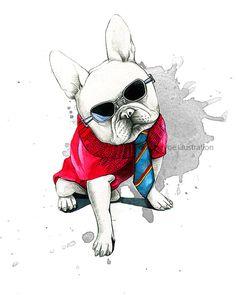 French bulldog art French bulldog print por RongrongIllustration
