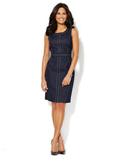 Shop 7th Avenue Suiting Collection – Topstitched Denim Sheath Dress. Find your perfect size online at the best price at New York & Company.
