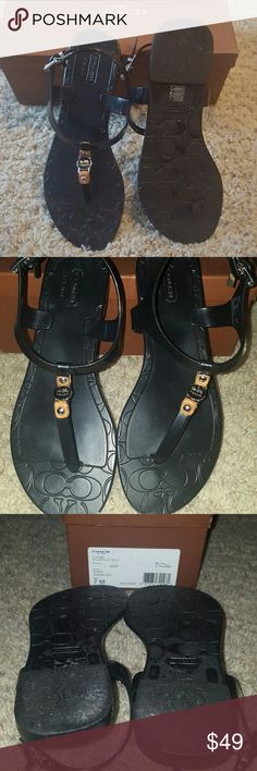 Coach Piccadilly jelly  black sandals size 7 Coach Piccadilly jelly black sandals size 7  in excellent condition with box silver buckles  charms and emblem Coach Shoes Sandals