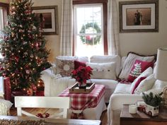 The Long Awaited Home: Christmas Home Tour Ikea Ektorp sectional in Blekinge White. Christmas Interiors, Christmas Room, Rustic Christmas, All Things Christmas, Merry Christmas, Xmas, Christmas Tree Decorating Tips, Holiday Decor, Ikea Christmas Decorations