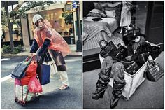 """I've seen this issue come up before in a 2010 Vivienne Westwood runway show, but the appropriation of homelessness for the sake of fashion has become a 'statement.' Sartorially, the looks relate closely to grunge or punk, but are stylized in a way that suggests homeless women, """"bag ladies,"""" as the inspiration. Fashion is an industry that depends on obscene wealth and decadence to exist, and takes inspiration from people living on the streets, who's last concern is making a fashion statement."""