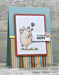 Sunday Sketches - This Little Piggy by Stampin' Up!® Sunday Sketches This Little Peggy stamp set by Stampin' Up! Scrapbook Sketches, Card Sketches, Kiwi Lane Designs, Sketches Tutorial, Free Cards, Hand Stamped Cards, This Little Piggy, You Make Me Happy, Animal Cards