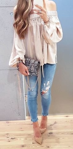 fashon trends off shoulder blouse + ripped jeans + heels