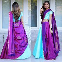 Sensational Lehenga Style Saree Designs For Brides To Flaunt At Their Nuptials! Indian Lehenga, Lehenga Saree Design, Half Saree Lehenga, Saree Dress, Lehenga Designs, Half Saree Designs, Saree Blouse Designs, South Indian Wedding Saree, South Indian Bride