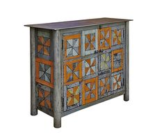 Two Door Pinwheel Quilt Cupboard steel, natural rust patina, found color panels,h 33 w 48 d 16 inches Modern Contemporary, Modern Design, Pinwheel Quilt, Find Color, Cupboard, Furniture Design, Steel, Cool Stuff, Storage