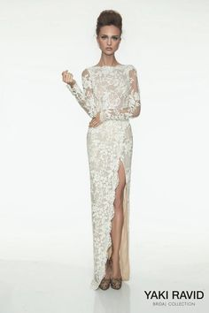 Yaki Ravid Bridal Collection. Laced, long sleeve with high leg silt. Perfection.