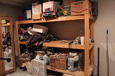 storage shelves, diydesignfanatic.com, garage storage, basement storage