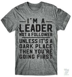 I'm not a leader I am a follower, but YES if it's dark you go first!