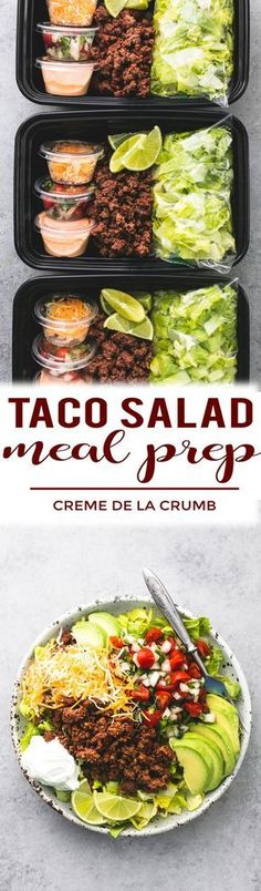 Easy and healthy taco salad meal prep bowls you can make ahead for dinner or lunches with savory seasoned ground beef, fresh lettuce, cheese, and pico, and chipotle ranch dressing. Lunch Snacks, Lunch Recipes, Mexican Food Recipes, Healthy Recipes, Diet Recipes, Salad Recipes, Recipes For Meal Prep, Heathy Lunch Ideas, Lunch Ideas Work