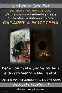 Giovedì 17 novembre 2016 Cabaret a sorpresa - Osteria Bel Sit