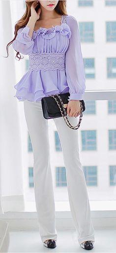 Morpheus Boutique  - Purple Ruffle Chiffon Long Sleeve Celebrity Shirt, CA$92.29 (http://www.morpheusboutique.com/new-arrivals/purple-ruffle-chiffon-long-sleeve-celebrity-shirt/)