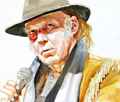 ART, Neil Young, print from original art watercolor portrait painting, rock star, free shipping, custom watercolor portrait