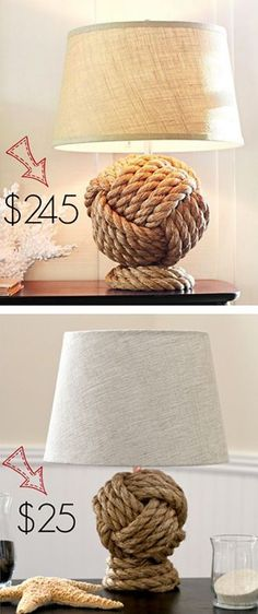 Pottery Barn Knockoff Rope Knot Lamp Rope Lamp Knock Off – easy, and so great for a coastal home Easy DIY Ideas, Craft Ideas Rope Crafts, Beach Crafts, Diy Crafts, Make Your Own Pottery, Deco Marine, Rope Lamp, Nautical Bedroom, Nautical Interior, Nautical Lamps