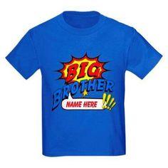 Cafepress Personalized Big Brother Superhero Kids Dark T-Shirt, Boy's, Size: Kids Small, Blue