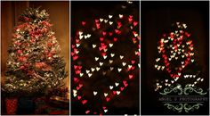 My Christmas tree this year = hearts & snow <3