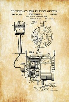 Ship Telegraph Patent 1930 - Vintage Nautical Naval Art Ship Wheel Sailing Decor Nautical Decor Beach House Decor Boating Decor by PatentsAsPrints