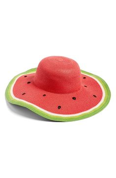 A bright, playful watermelon pattern adds fresh summertime style to this breezy straw hat with a wide, floppy brim.