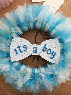 Baby Boy Announcement Tulle Wreath                                                                                                                                                     More