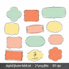 24 Digital Frame Label Clip art Set Digital Clipart by memomint