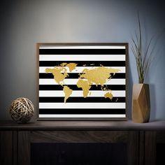 Striped World Map Faux Gold Foil Art Print 4 x 6, 5 x 7, Silver Foil, World Map Decor, Travel Decor, Black and White Stripes, Office Decor
