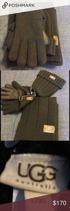 Ugg Australia knitted three- piece set Brand new with tag on them, leather exterior knitted gloves,knitted scarf, knitted beanie. Black UGG Accessories Scarves