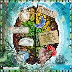 """Page by Heather aka sparklyduck. Idea: Create an art journal page inspired by the title """"My Journey"""" or """"In my head"""" etc Mixed Media Journal, Mixed Media Art, Gcse Art Sketchbook, Sketchbooks, Art Journal Pages, Art Journaling, Brain Art, Altered Art, Altered Books"""