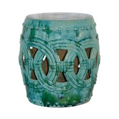 Legend Of Asia Rope Garden Stool Large   Turquoise ($528) ❤ Liked On  Polyvore