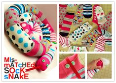 Popular DIY Crafts Blog: How to Sew Cute DIY Snakes with Mismatched Socks