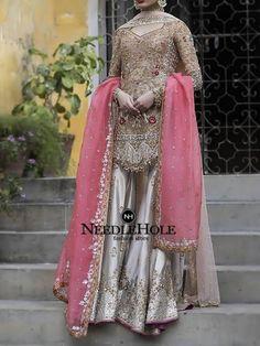 Amazing Pakistan Bridal Sharara Style With Tea Pink Dupatta And Vegas Gold Shirt