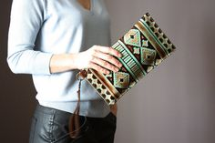 Leather wristlet clutch iphone wallet case by VitalTemptation