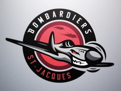 """Bombardiers - St-Jacques Roller Hockey Club - Logo 1 New graphic identity for a french roller hockey team from Brittany, """"Bombardiers"""" - St-Jacques-de-la-Lande Hockey Logos, Sports Team Logos, Team Logo Design, Mascot Design, Security Badge, St Jacques, Esports Logo, Nfl Logo, Patch Design"""