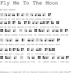 Ocarina Patterns 'Fly Me To The Moon'