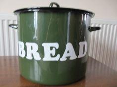 Vintage Enamelware Green Bread Bin by OldEnglishMilly on Etsy, £30.00