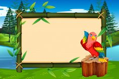 Parrot on bamboo frame with copyspace Pr. Adobe Illustrator, Shapes For Kids, Parrot, Vector Free, Frame, Water, Illustration, Vintage, Parrots