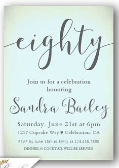 A selection of tasteful birthday invitations chosen by a professional party planner Birthday Celebration, Birthday Parties, 80th Birthday Invitations, Mom Birthday, Birthday Ideas, Brush Lettering, Rsvp, Place Card Holders, Crafts