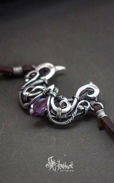 Crescent moon pendant with lavender purple cz.