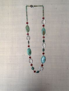 aqua and red beaded long necklace