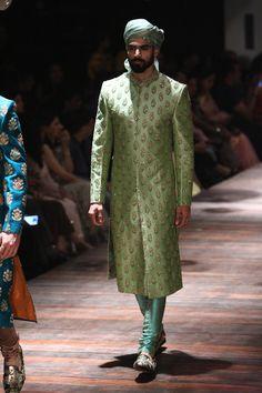 Sabyasachi at Lakmé Fashion Week Winter/Festive- 2016 Indian Groom Dress, Wedding Dresses Men Indian, Wedding Dress Men, Indian Wear, Indian Male, Indian Weddings, Indian Ethnic, Pakistani Dresses, Mens Sherwani