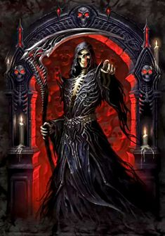 More at Mike Vands 😈 Grim Reaper Art, Grim Reaper Tattoo, Don't Fear The Reaper, Dark Artwork, Skull Artwork, Reaper Drawing, Monster Pictures, Skull Pictures, Gothic Fantasy Art