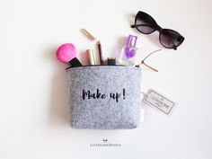 LovesomeDesign | Handmade Products: Custom Embroidered Felt Pouches for Make Up or Stu...