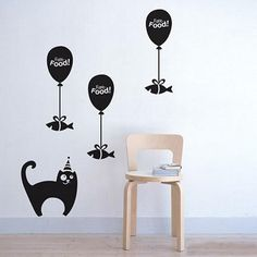 furniture and wall decorating with black cats