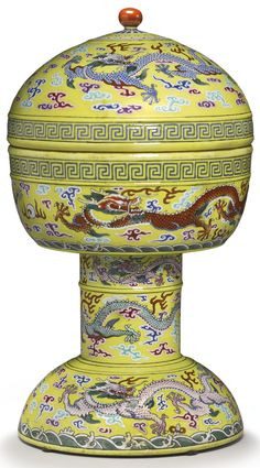 A YELLOW-GROUND ALTAR VESSEL AND COVER (DOU) JIAQING SEAL MARKS AND PERIOD | lot | Sotheby's